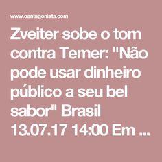 """Zveiter sobe o tom contra Temer: """"Não pode usar dinheiro público a seu bel sabor""""  Brasil 13.07.17 14:00 Em suas alegações finais, Sérgio Zveiter fala de improviso na CCJ. """"Michel Temer acha que pode usar dinheiro público para usar a Câmara a seu bel sabor"""", comentou ele, ao acusar o presidente de liberar emendas parlamentares para garantir votos na comissão. Zveiter, só para lembrar, é do PMDB."""
