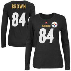 Women's Pittsburgh Steelers Antonio Brown Majestic Black Fair Catch Name & Number Long Sleeve T-Shirt - NFLShop.com