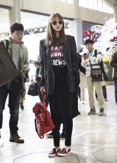 Gong hyo jin fashion with leopard slip-on #wannabk #suecomma_bonnie