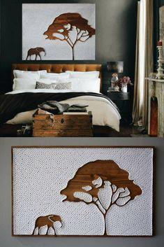 Stunning elephant and tree string art #stringart #ad #wallart #walldecor #homedecor #elephants #tree #africa #safari #bedroomdecor #livingroomdecor #giftideas