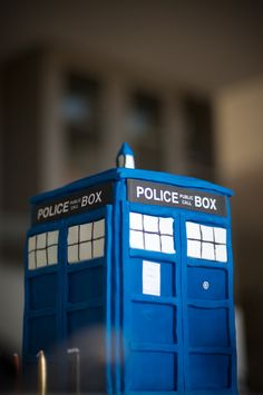 Vegan chocolate mud cake that can stand up to fondant. Seen here in TARDIS form. Definitely bigger on the inside. Suitable for wedding cake.
