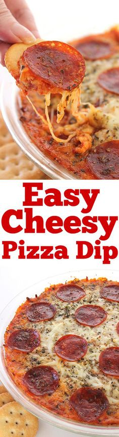 Easy Cheesy Pizza Dip - simple hot dip that is perfect appetizer for serving a c. Easy Cheesy Pizza Dip – simple hot dip that is perfect appetizer for serving a crowd. You will fi Pizza Appetizers, Appetizers For A Crowd, Appetizer Dips, Best Appetizers, Appetizer Recipes, Italian Appetizers, Appetizer Party, Dip Recipes, Chipotle
