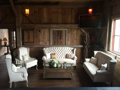 You cannot go wrong with our Ivory Velvet High back Tufted sofas which add elegance and comfort for your guests.  Featured here with our empire gold coffee table, Hunter and Erika Chairs, and glam side table.  #RitzCarltonWeddings #ShadyCreekBarn #lounge-rentals #furniture-rentals #glam-weddings