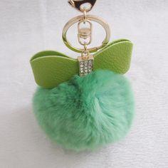 Green Bow Pompom Fur Ball Purse Charm