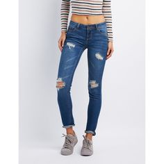 Charlotte Russe Destroyed Skinny Boyfriend Jeans ($25) ❤ liked on Polyvore featuring jeans, medium wash denim, distressed jeans, destroyed boyfriend jeans, ripped skinny jeans, boyfriend jeans and denim skinny jeans
