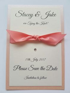 Peach coral bespoke wedding stationery save the date idea
