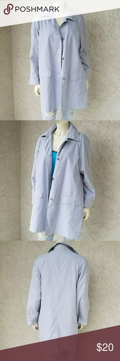 """TCM Gray Trench Coat MEASUREMENTS:  🛍 Shld - Shld 31"""" 🛍 Bust 21"""" across  🛍 Sleeve 22"""" 🛍 Length 32""""  CONDITION: No holes, No stains  SIZE: 38 / 40  60% Polyester, 40% Polyamide   Light Gray Sashless Trench Coat  Single Breasted 4 Button front Flap Pockets and Notched Collar Lined interior Thin and lightweight Perfect for layering TCM Jackets & Coats Trench Coats"""