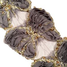 """Gray 3"""" sequin butterfly shabby chiffon rose trim"""