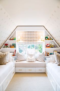 reading nook for girls room Neutral and gold children's bedroom with bookshelves