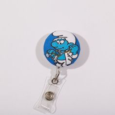 Doctor Smurf Badge Reel by ButtonsNBrass on Etsy