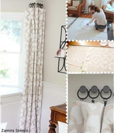 Great DIY Curtain Idea using the Moroccan Zamira Stencil from Cutting Edge Stencils on drop cloths for only $10 a panel! http://www.cuttingedgestencils.com/moroccan-stencil-designs.html