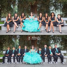Temple Bat Yahm Quinceanera Court with a Tiffany Blue Theme, aqua quince ideas
