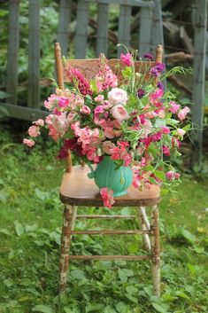 """Extras ::  The Seasonal Bouquet Project sweet peas in all shades of  pink, especially """"watermelon"""", David Austin roses, spikes of raspberry lupine and purple bachelor button"""