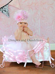Crochet w/ Pink Lace Bouquet Infant Hat