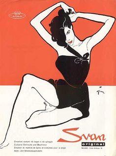 Illustration by René Gruau,  French lingerie ads, 1950s.