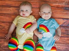Rainbow and clouds TWIN Bodysuit Set , Great Shower gift for TWINS or siblings.