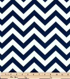 Nautical Navy Blue and White Chevron Fabric by by LondonsFabric