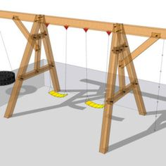 post and beam wooden swing set