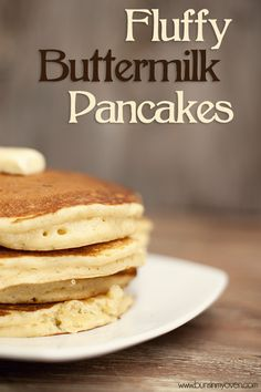 Fluffy Buttermilk Pancakes. Seriously the best pancakes EVER! I used whole wheat flour and added an extra 1/4 c. Reg. Milk. So fluffy and delicious!