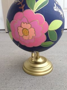 Hand painted globe floral globe vintage globe by DovieLou on Etsy