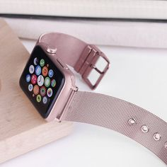 Apple Watch Series 5 4 3 2 Band, Sport Milanese Loop with buckle, Stainless Steel iwatch - US Fast Shipping Apple Watch Bracelets, Apple Watch Wristbands, Apple Watch Bands Fashion, Apple Watch Bands 42mm, Apple Watch Sizes, Apple Band, Apple Watch Accessories, Rose Gold, Series 4