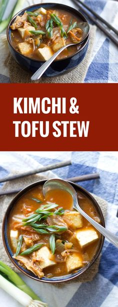 Warm up with this spicy vegan kimchi stew that's made with with tender shiitake mushrooms and crispy pan-fried tofu. Tofu Recipes, Asian Recipes, Whole Food Recipes, Vegetarian Recipes, Cooking Recipes, Healthy Recipes, Beer Recipes, Healthy Food, Cooking Tofu