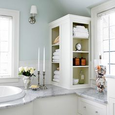 To-the-Ceiling Storage              Running out of storage space in a small bathroom? Add a to-the-ceiling cabinet to provide storage and emphasize the room's height. This solution will also keep bathroom counters clear by providing a space for supplies.