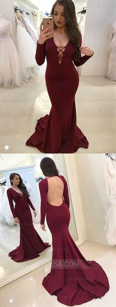 de1868c74870 Modest Burgundy Prom Dress,v Neck Mermaid Prom Dresses With Sleeves, Simple  Criss Cross Straps Mermaid Party Dresses, Gorgeous Long Sleeves Open Back  ...