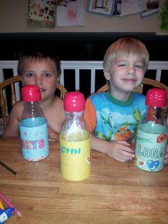 Homemade piggy banks for the boys with creamer bottles