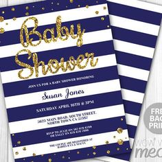 Baby Shower Invitation Navy Gold It's a Boy Twins Invite INSTANT DOWNLOAD Party Blue Glitter Invite Personalize Editable + Printable Edit
