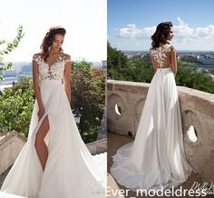 Discount Charming White High Split A Line Satin Wedding Dresses Long Sweep Train Covered Button Sheer Neck Bridal Gowns With Appliques Custom Made Wedding Designer Dresses Wedding Dress Online Store From Ever_modeldress, $141.11| Dhgate.Com