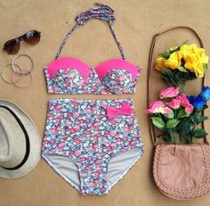 pink high waisted swimsuits - Google Search
