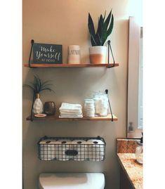 Bathroom Wall Shelves, Wall Shelf Decor, Wood Wall Shelf, Bathroom Layout, Half Bathroom Decor, Floating Wall Shelves, Shelves Behind Toilet, Bathroom Decor Ideas On A Budget, Bathroom Wall Ideas