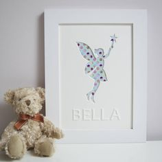 Personalised Fairy - Cupcake Print - White frame
