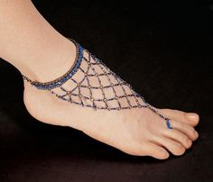 Egyptian Blue Nile Isis Slave Anklet Bracelet/Anklet Bracelet - Set of 2 Slave Bracelet, Anklet Bracelet, Anklets, Bracelet Set, Anklet Jewelry, Foot Bracelet, Crochet Barefoot Sandals, Offbeat Bride, Bare Foot Sandals