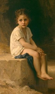 """One of my favorite Artists - what a gift to be able to paint like this.   Adolphe William Bouguereau -    """"At the Foot of the Cliff""""                                                                                                                                                     More"""