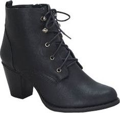 Find your niche in this lace up round toe ankle bootie on a mid height heel with a polyurethane upper and pull up on the back.