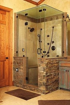 Shower w/ stone work.