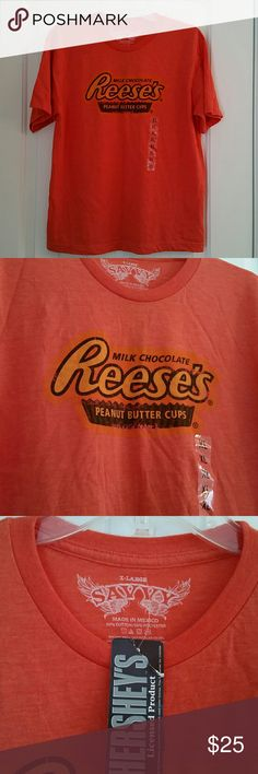 Hershey's Reese's peanut butter cup t-shirt Orange t-shirt,new with tags! Very soft, 50% cotton/50% polyester. XL size but it fits more like a Large Tops Tees - Short Sleeve