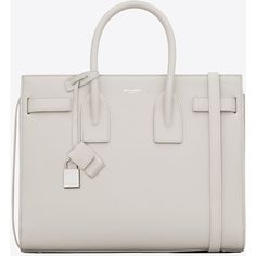Saint Laurent Classic Small Sac De Jour Bag ($2,370) ❤ liked on Polyvore featuring bags, handbags, shoulder bags, sac, white shoulder bag, genuine leather purse, leather purse, leather key ring and leather shoulder bag