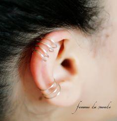 Three & Four tier ear cuff  Set - Silver, Gold, or Black Cuff Set - No Piercing - Body Jewelry. $19.99, via Etsy.