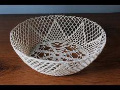 koszyk ażurowy misa na szydełku - część lace basket - part 1 Decorative Bowls, Basket, Haha, Tejidos