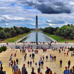 Washington monument and White House on the ends and Smithsonian museums on the sides.
