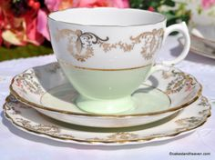 Royal Vale Pale Green and Gold Filigree Bone China Teacup Trio c.1950s