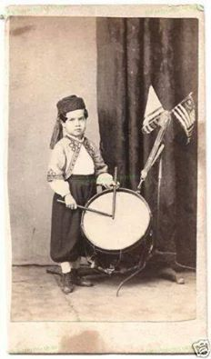 The youngest person to serve in the Civil War was Union drummer boy Willey Bagley, age 4. He was too young for the battlefield, but performed publicly in his Zouave uniform to keep up Northern morale.   with thanks to Josh Sneed