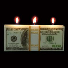 Money to Burn Candle - This would be a fun, low cost gift for businesses in the financial industry.