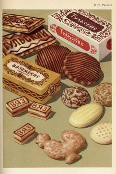 Vintage illustration, USSR, Various kinds of Russian traditional gingerbread. Retro Recipes, Vintage Recipes, Russian Cookies, Vintage Food Posters, Vintage Sweets, Russian Recipes, Food Drawing, Food Illustrations, Cute Food