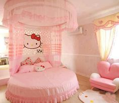 Contemporary and unique girls bedroom design ideas with hello kitty bedroom themes and hello kitty girls room style, full girls bedroom in hello kitty themes with modern kitty furniture and accessories Cama Da Hello Kitty, Hello Kitty Lit, Rosa Hello Kitty, Hello Kitty Bedroom Set, Hallo Kitty, Cat Bedroom, Girls Bedroom, Bedroom Stuff, Kid Bedrooms