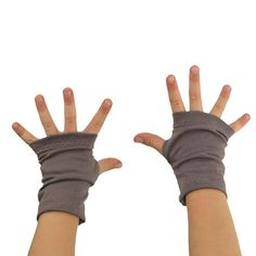 Toddler Arm Warmers in Reverie Pewter  Taupe Grey by mirabeans
