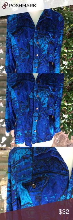Jewel toned Chico's Rayon abstract print jacket Super cute jewel toned Chicos jacket. This can definitely be worn casual or dressy. This is made from a beautiful woven rayon, nice button details, two pockets. New without tags. Jackets & Coats